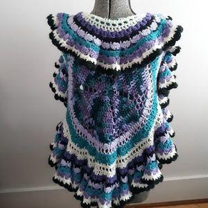 Vintage Granny Crocheted Ruffle Vest Shrug Size S